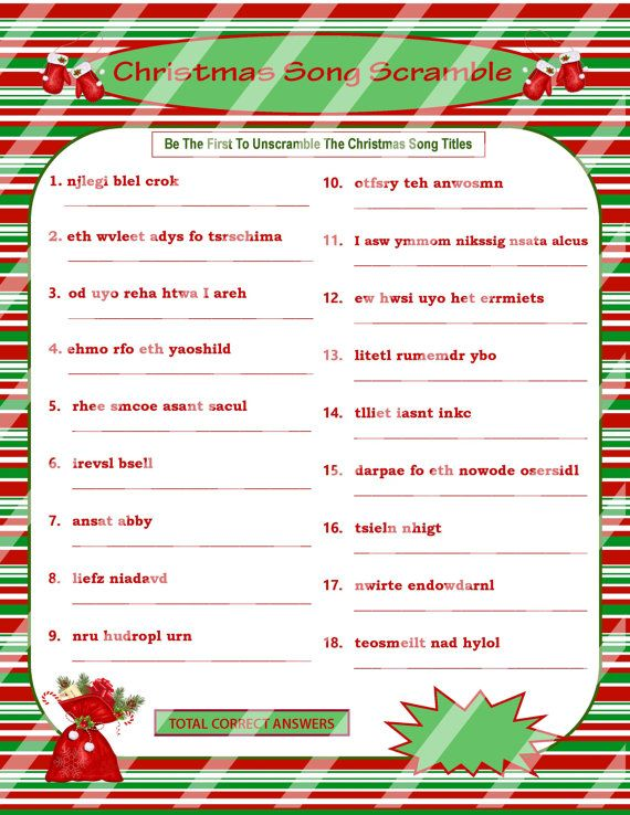 picture about Christmas Song Scramble Free Printable named Pin upon Xmas