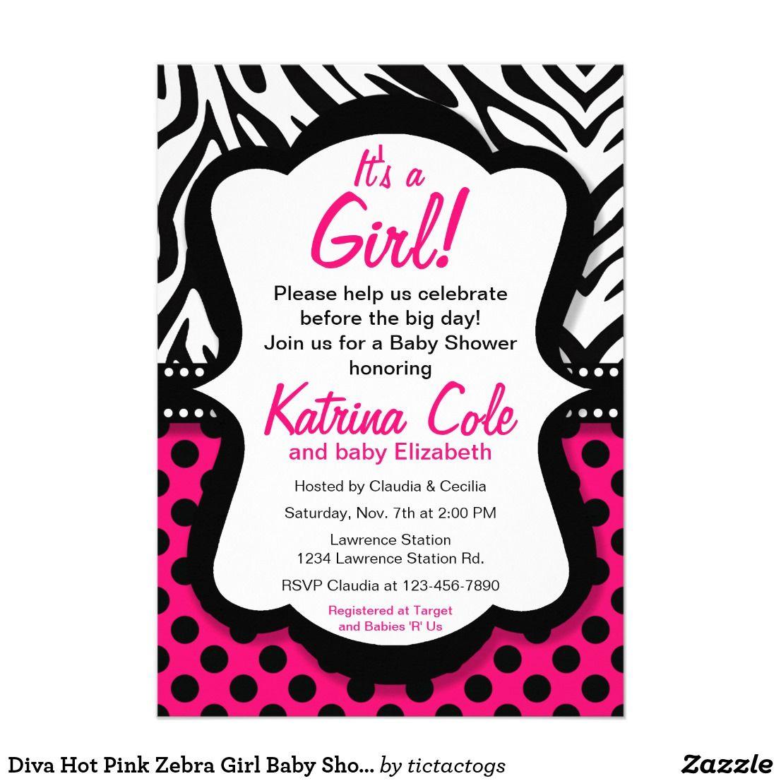 Diva Hot Pink Zebra Girl Baby Shower Invitation | { Oh Baby ...