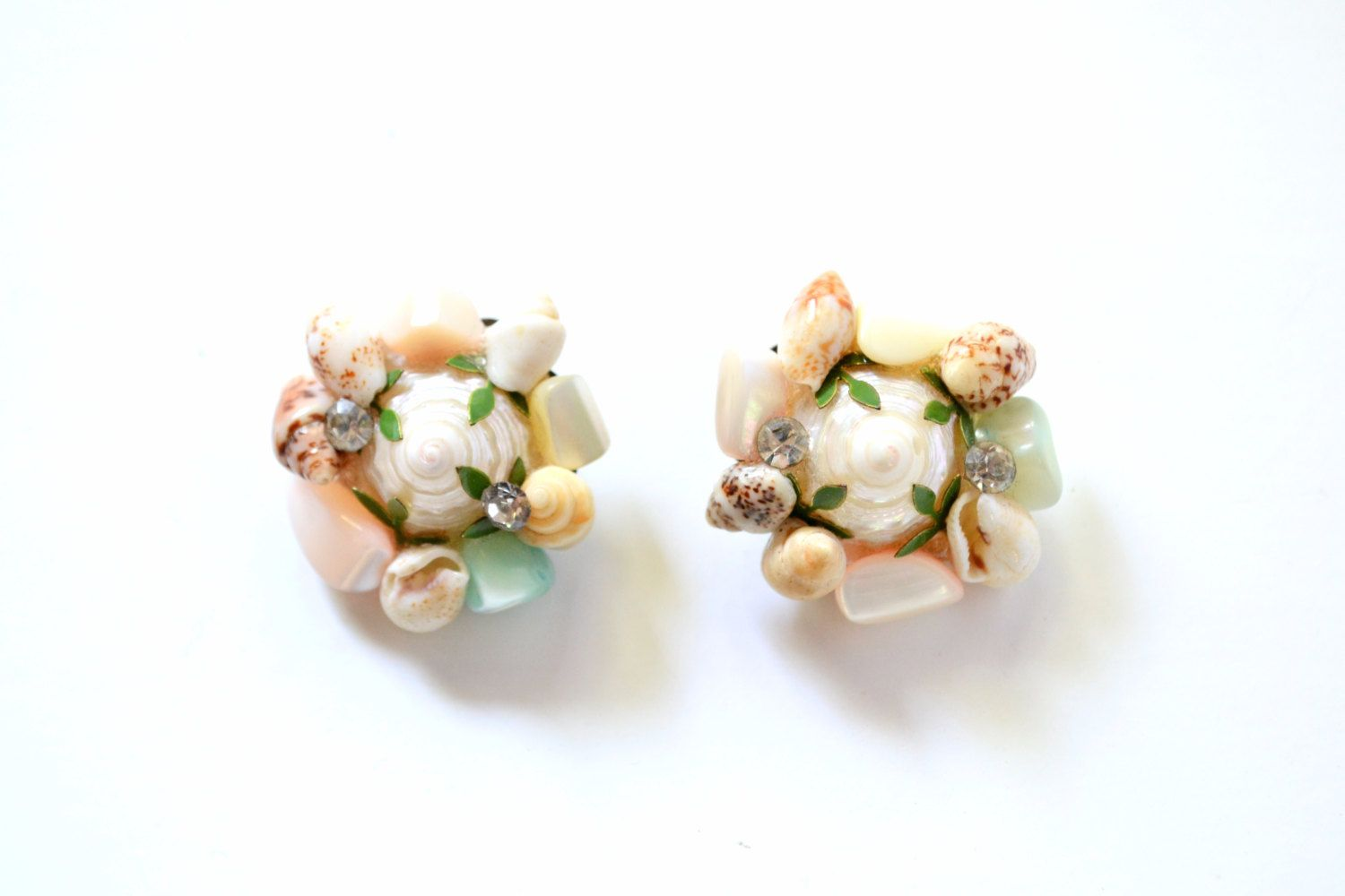 Vintage Shell 'Under the Sea'  Earrings,  Clip-on Style Backs by LlamaPieVintage on Etsy