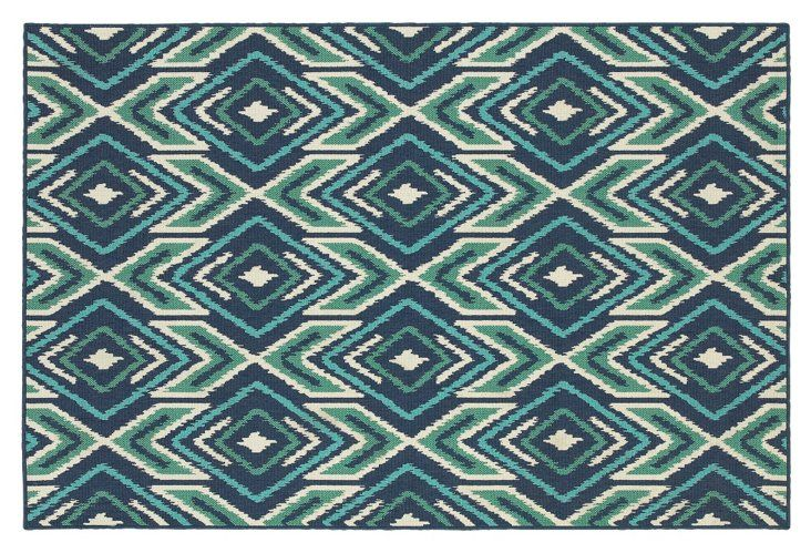 Mojave Outdoor Rug, Navy/Green