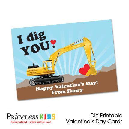 Printable digger Valentine cards for boys, Kids digger valentines day cards. $8.00, via Etsy.