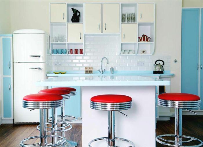 50er jahre m bel f r ein reizendes retro ambiente mit stil barhocker blau und einrichtung. Black Bedroom Furniture Sets. Home Design Ideas