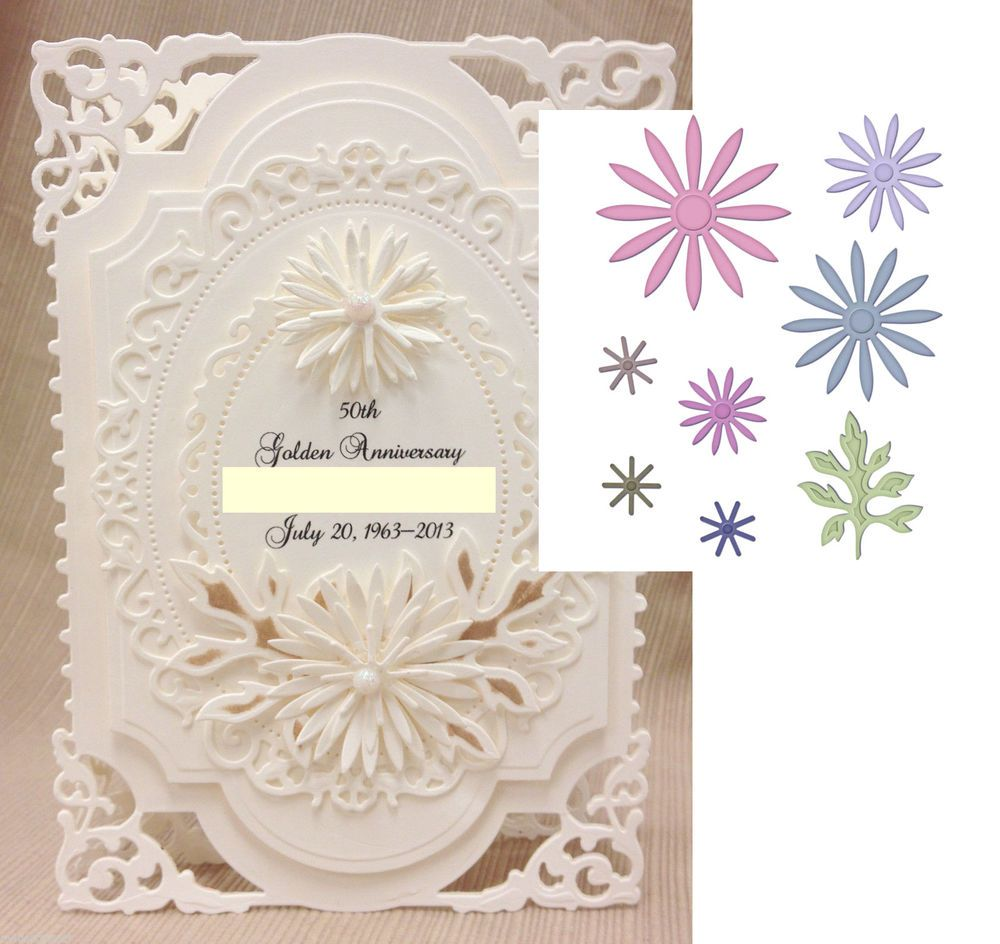 Flowers die set delicate asters spellbinders embossing cutting dies