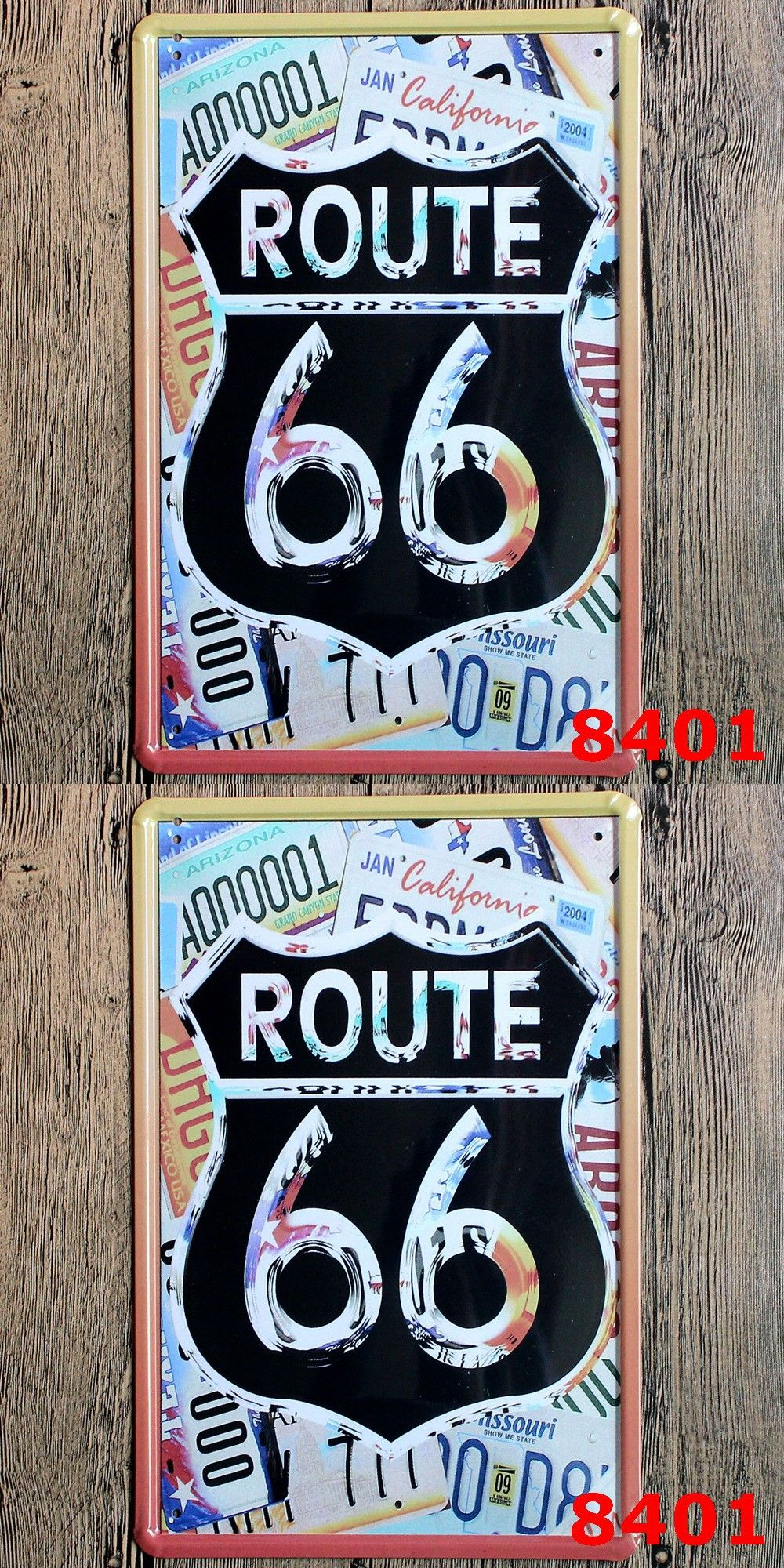 New Route US 66 Metal Wall Art Plaque Metal Vintage Pub Beer Poster Vintage Metal  Signs Home Decor Ruta 66 20*30 CM