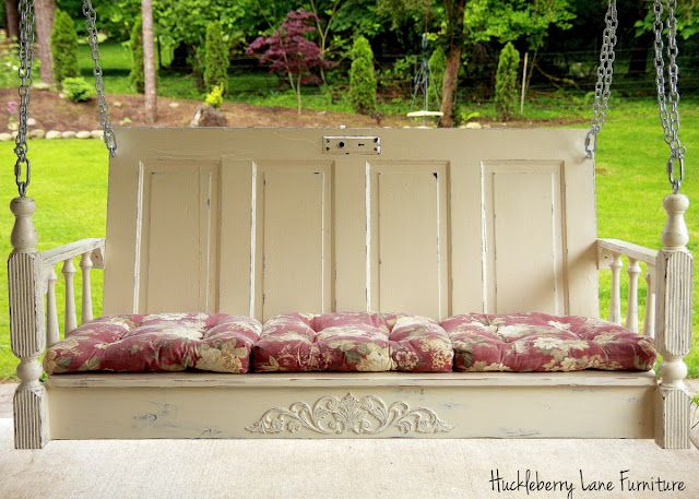 Porch Swing Made From An Old Door Table Legs Etc