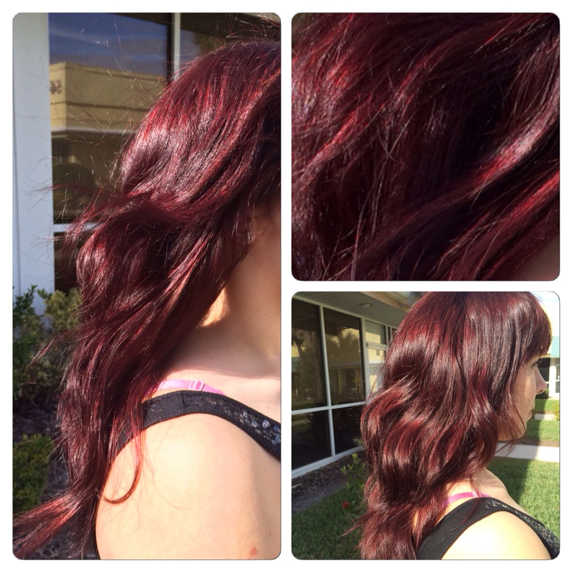 Sangria red haircolor done with Redken shades eq, perfect ...