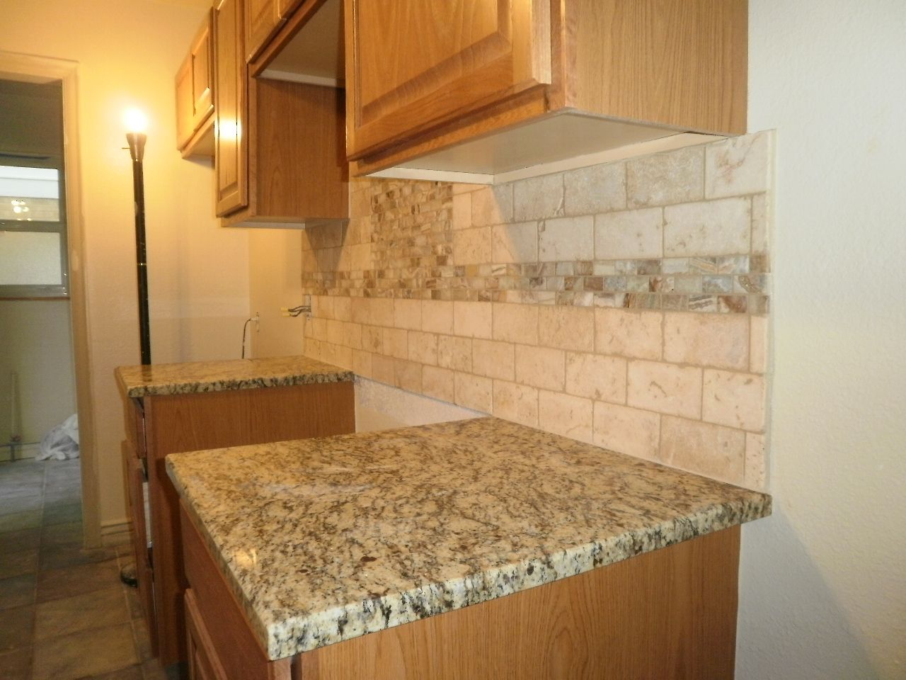 Uncategorized Travertine Kitchen Backsplash travertine tile backsplash just completed 3x6 find this pin and more on kitchen by marindasf