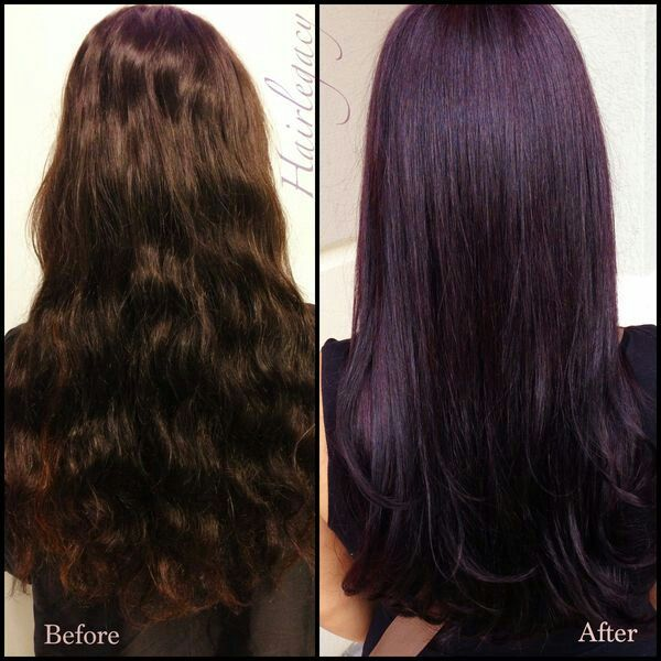 Before And After Brown With Red Under To Purple Plum With Red Transformation Plum Hair Hair Color Plum Dark Purple Hair