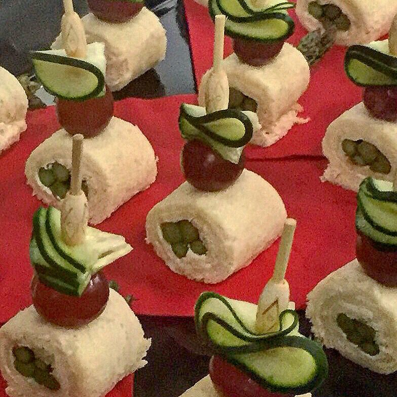 Mini asparagus tea sandwich roll ups #aristacatering # ...
