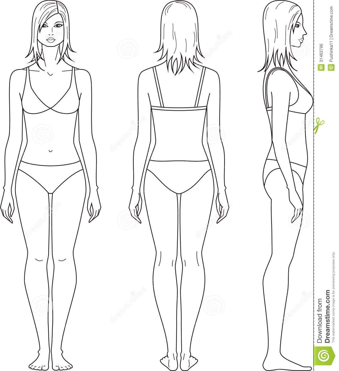 Female Template For Fashion Design Front Side Back