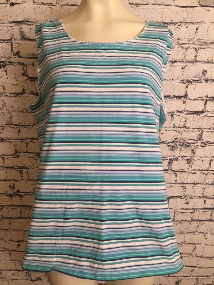 5f3b4f5c5b6 Liz Claiborne Shirt Plus Size 2X Sleeveless Multi Color Blue White Tank Top  #LizClaiborne #TankTop #Casual