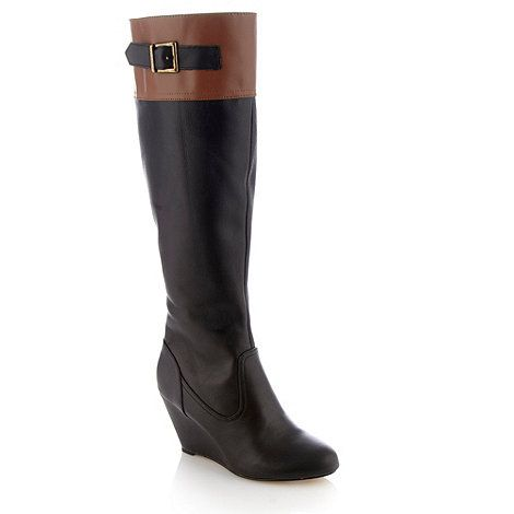 Ravel Black colour block wedge knee high boots- at
