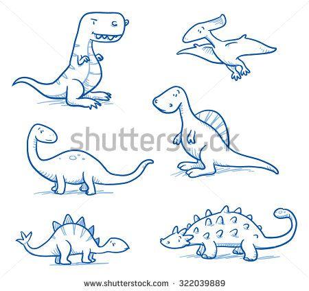 Cute little cartoon dinosaurs for children, hand drawn vector doodle ...