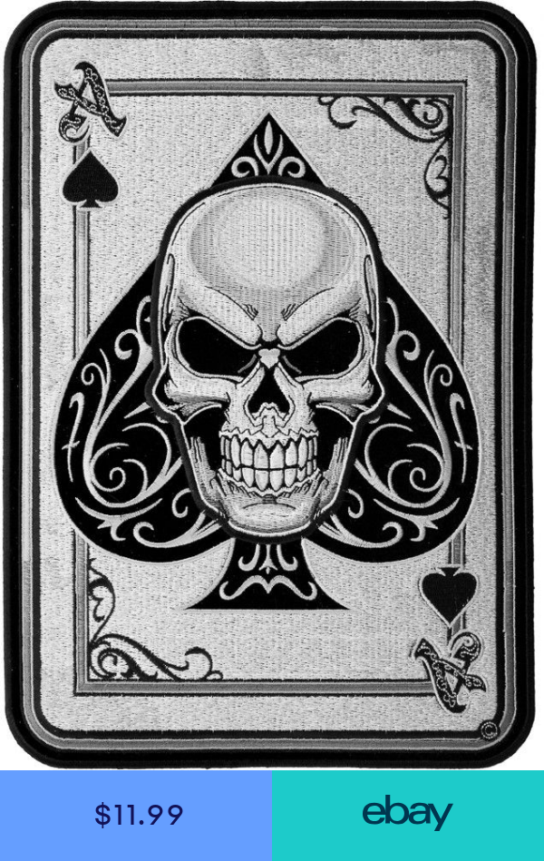Biker Back Patches Ace Of Spades Subdued Skull Patch