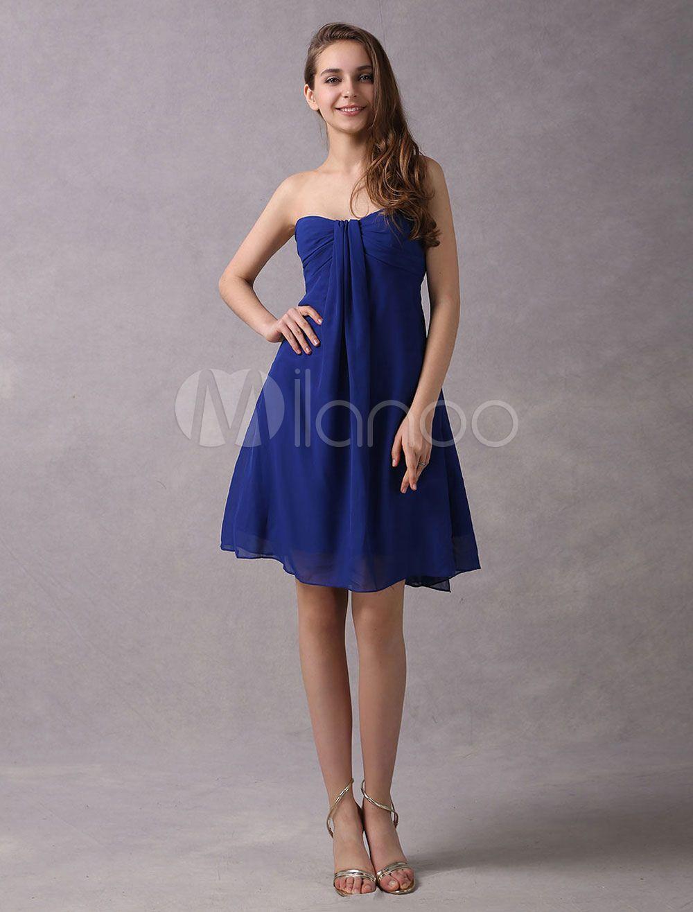 Short Prom Dresses Royal Blue trägerlosen Cocktailkleid Chiffon ...