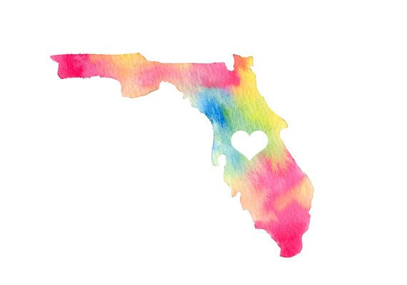 I Love Florida Watercolor Map Watercolor Map Florida Tattoos