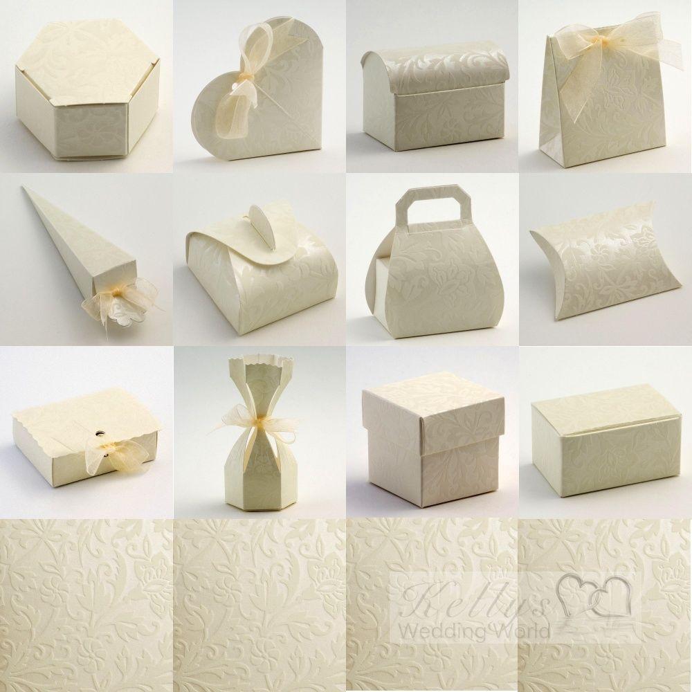 Diamante Ivory Wedding Favour Boxes