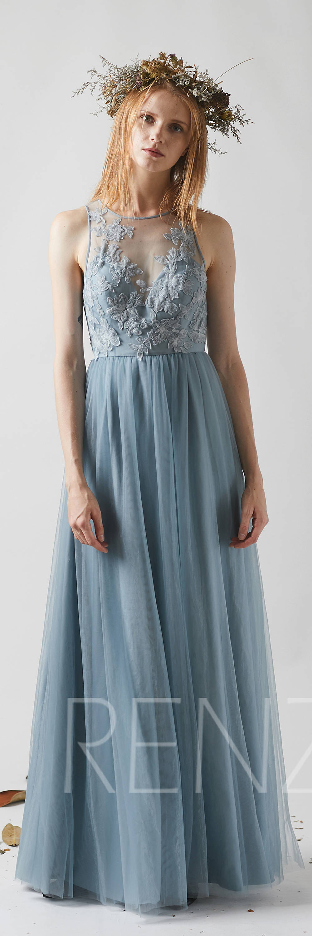 Dusty blue tulle bridesmaid dress sexy lace illusion wedding dress