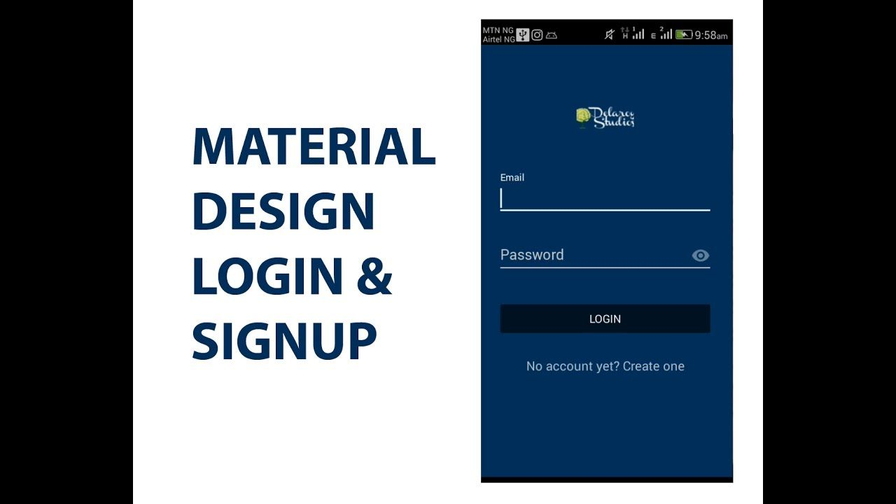 Android Material Design Login & Signup Template | Delaroy