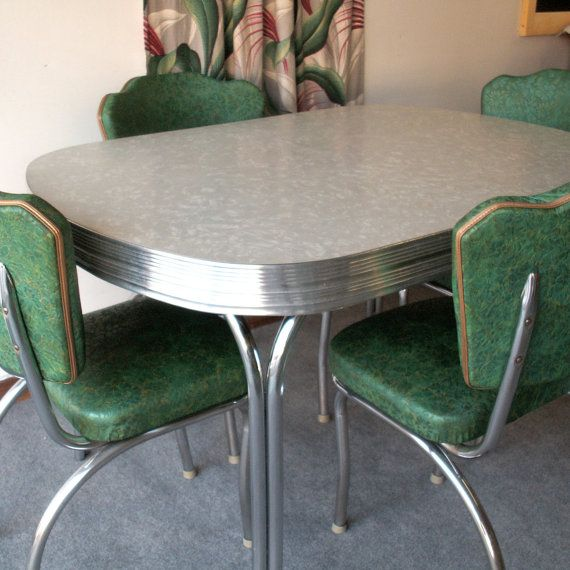 Vintage Gray Formica and Chrome Table with Four Chairs. I ...