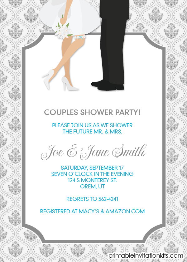 Free Pdf Download Couples Shower Invitation Engagement Party