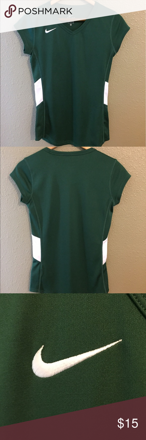 Nike V Neck Shirt Green v neck Nike shirt with white panels on the side. Two small imperfections on the front of Shirt but hardly noticeable (top left hand side on, middle right side). Other than that this shirt is in perfect condition! Nike Tops Tees - Short Sleeve