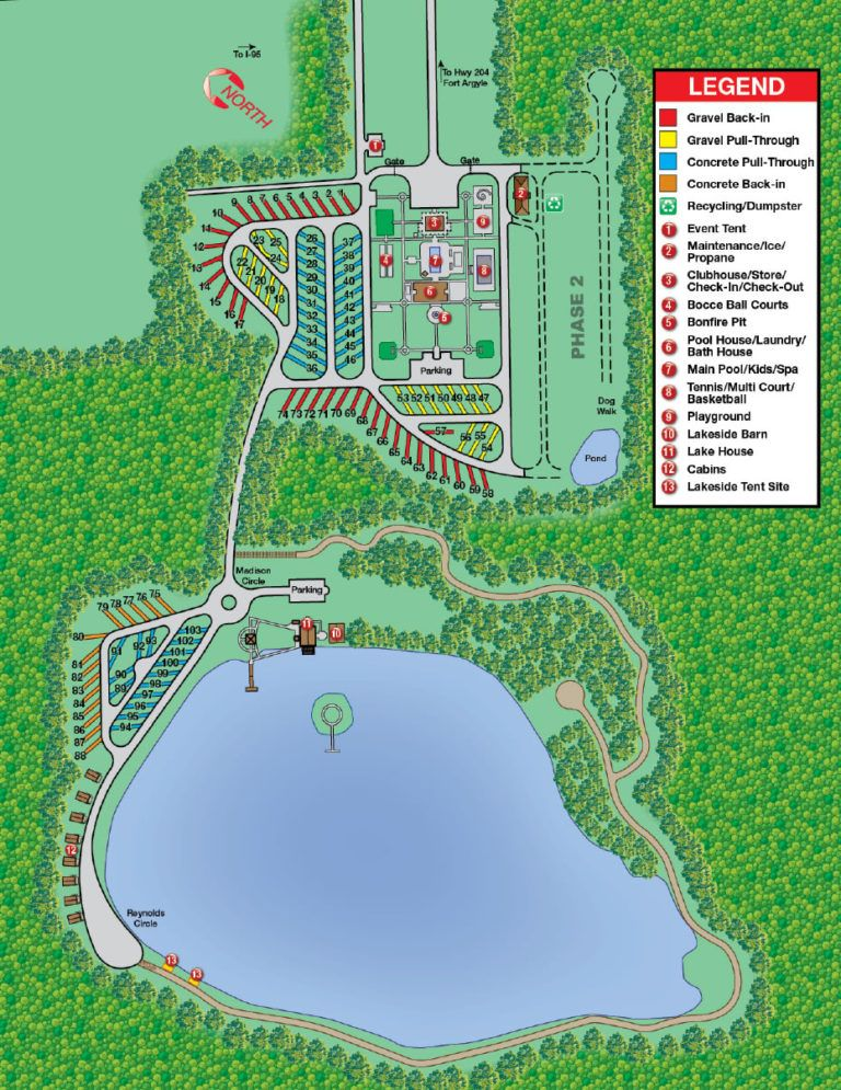 Site Map Creekfire Motor Ranch Savannah Campground Campground Vacation Trips Camping Spots