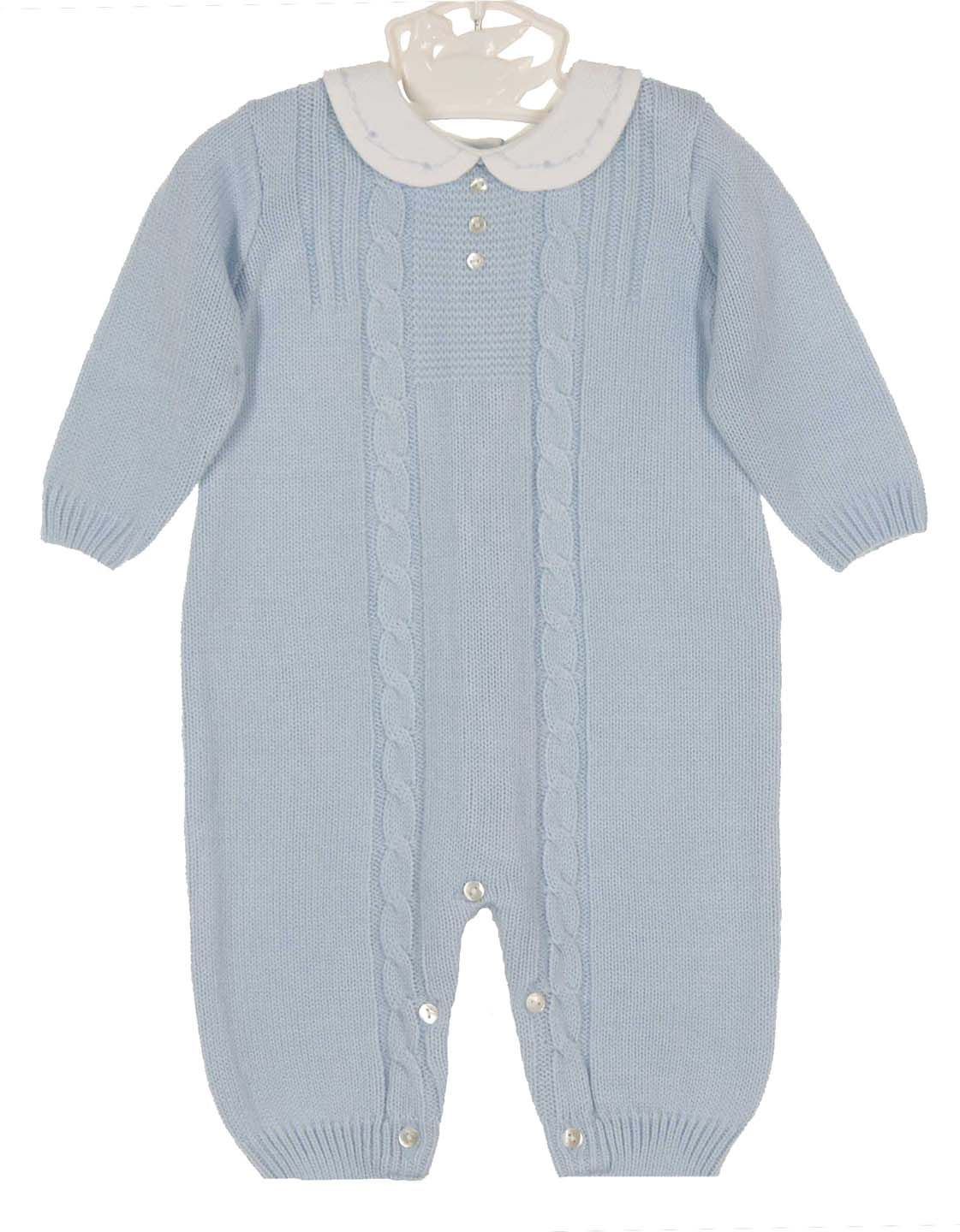 8e4efd8f7 NEW Sarah Louise Blue Knit Romper with Embroidered White Pique ...