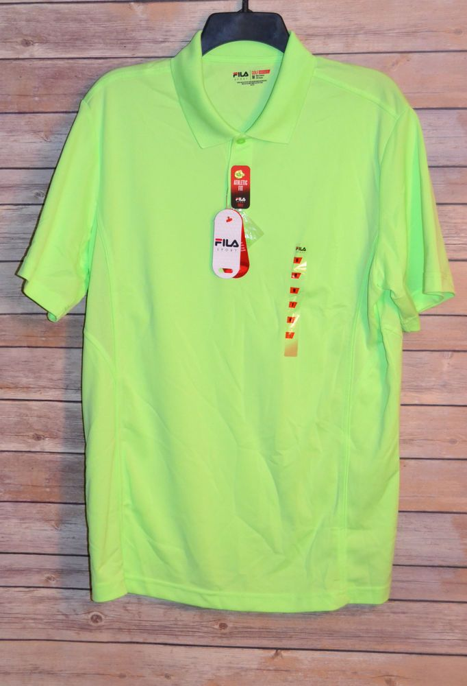 f67f8f99 MENS FILA SPORT GOLF SHIRT SIZE: M COLOR: LIME GREEN TRUDRY 3 BUTTON NEON  POLO #Fila #PoloRugbyGolfShirt