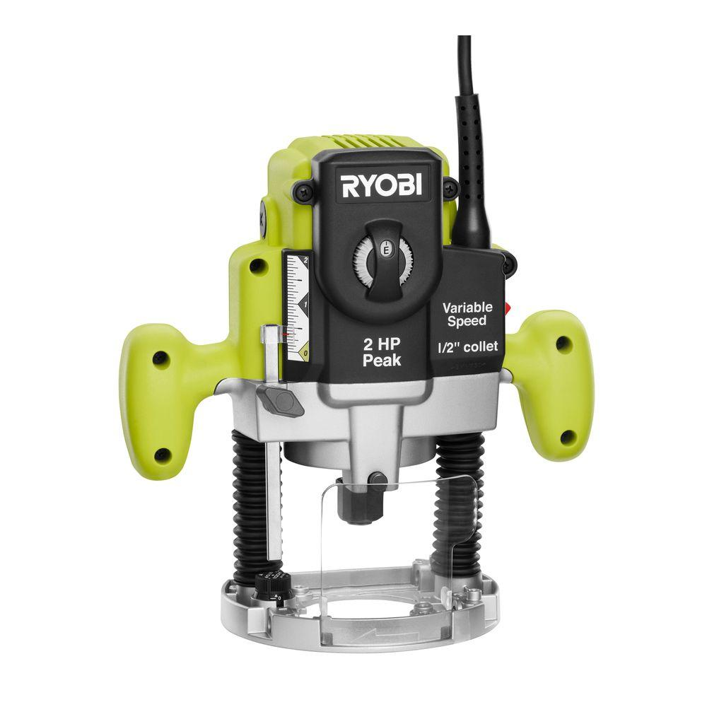 RYOBI 10 Amp 2 HP Plunge Base Router-RE180PL1G - The Home ...