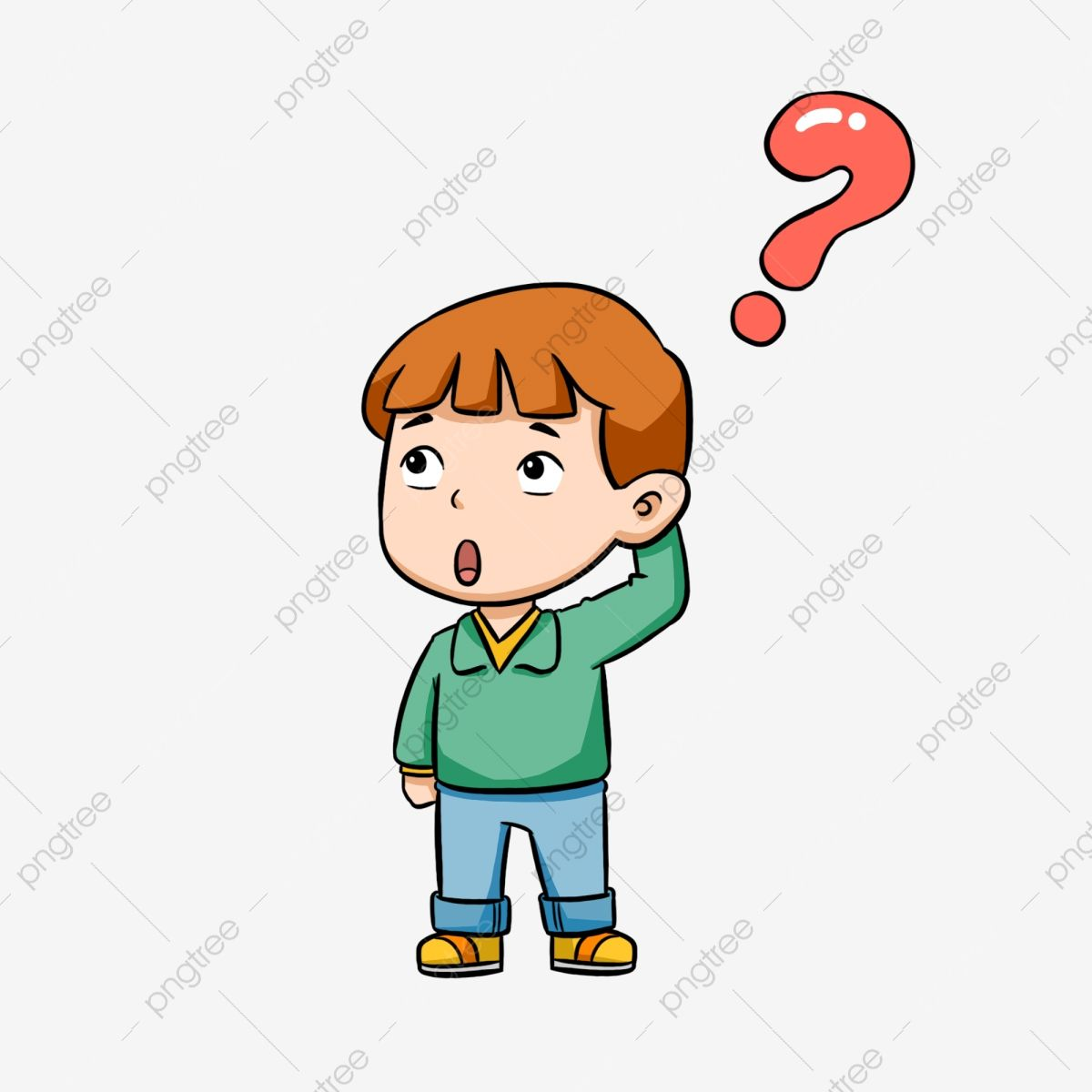 Hand Drawn Cartoon Boy Question Mark Free Illustration Boy Clipart Confused Thinking Problem Png Transparent Clipart Image And Psd File For Free Download Cartoon Question Mark How To Draw Hands Free