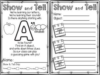 Show And Tell Notes For Letter Of The Week Series  Note Abc