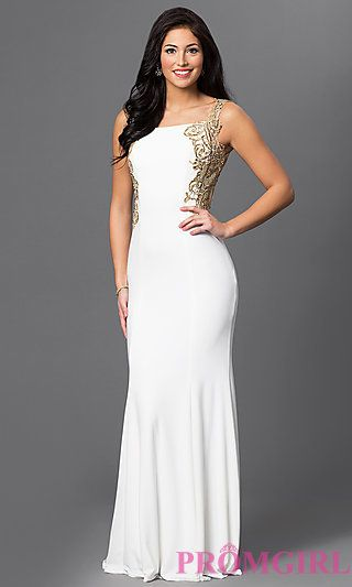 aa3f17dfb9c Long Bateau Neck Open Back Dress 1791 by Dave and Johnny at PromGirl.com