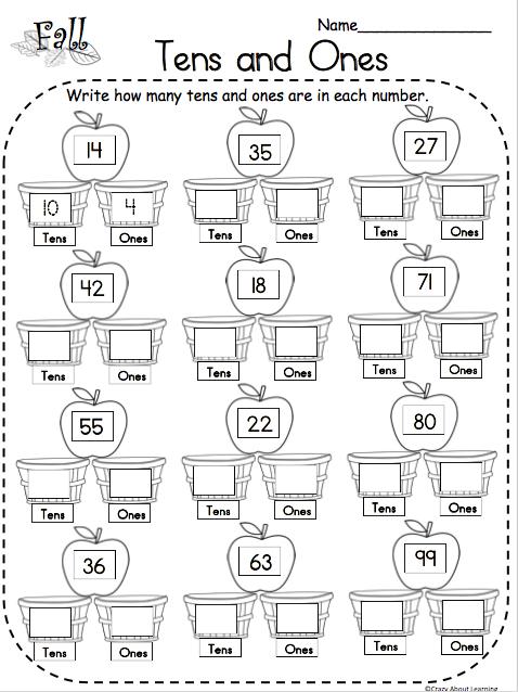Fall Tens and Ones Math Free Worksheet   1st grade math ...