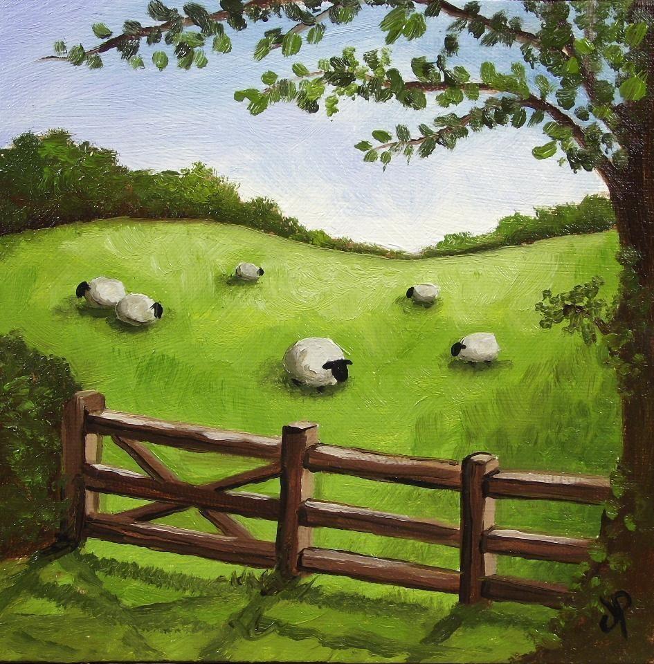 Rainbow landscape original oil pastel drawing - Field Of Sheep J Palmer Original Oil Painting Welsh Landscape Art