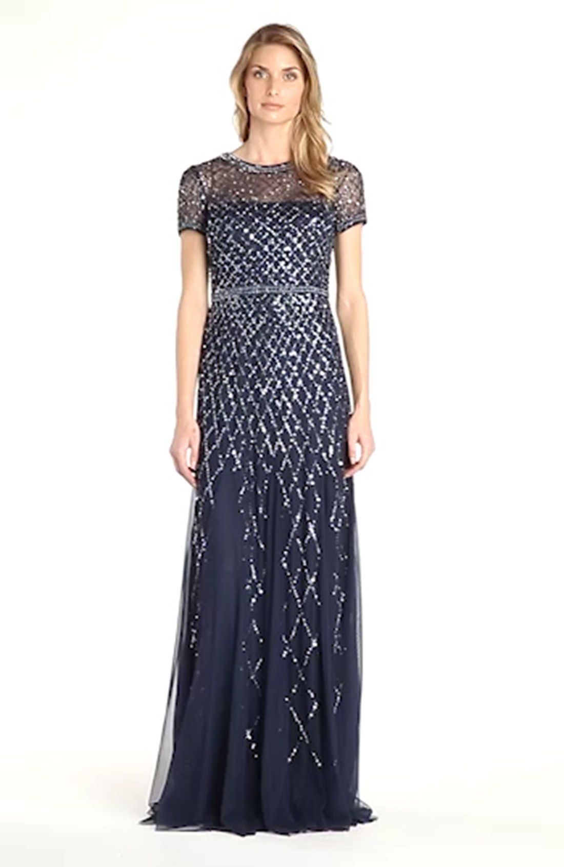 Beaded Mesh Gown Adrianna Papell Nordstrom And Petite