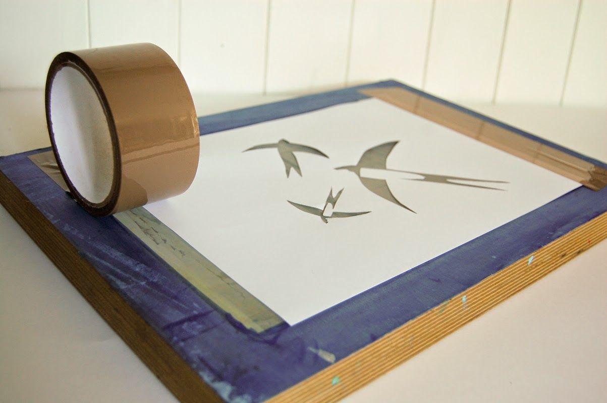A simple stencil screenprint DIY Diy screen printing