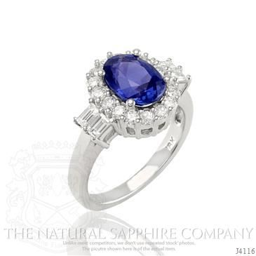 2.60 Ct. Oval Blue Sapphire Ring in 18K White Gold
