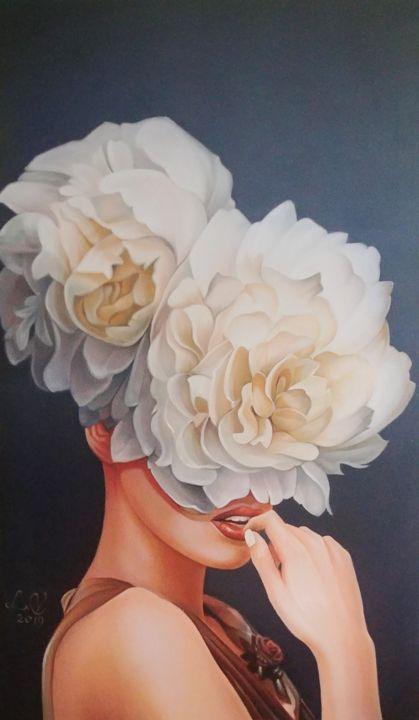 Women And White Rose, Картина - Vasyl Luchkiv | Artmajeur
