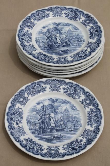 Blue And White Plates vintage blue & white bristol ports of england, 8 english