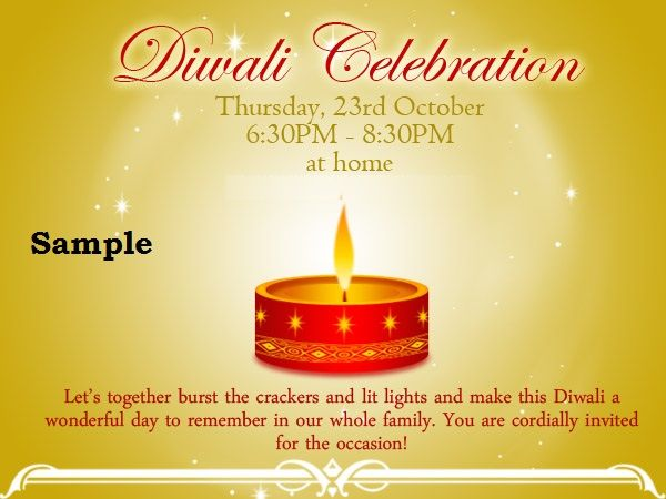 Diwali Invitation Cards 2015 Diwali Party Invitation Cards Sample - invitation wording for candle party