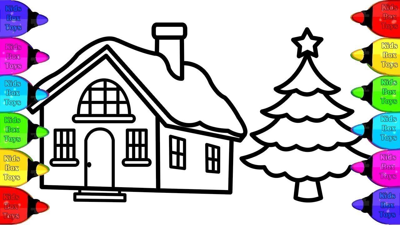 Comment dessiner une maison de noël pour les enfants aux couleurs chatoy