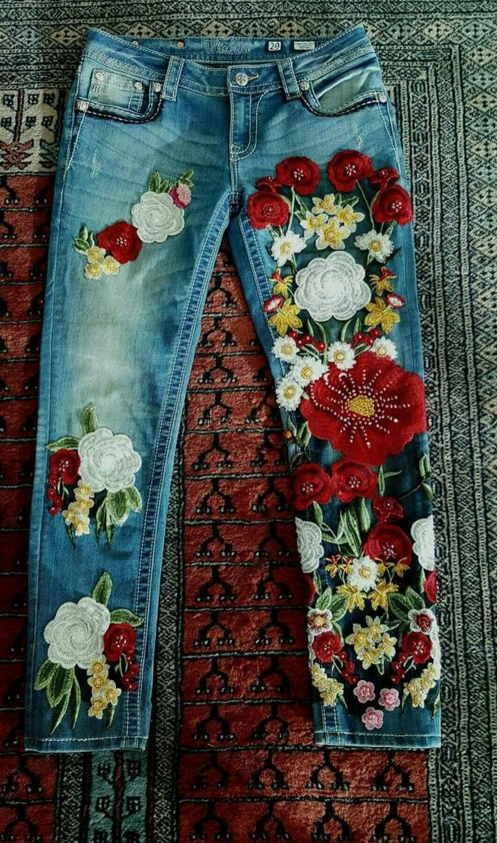 Floral embellished jeans embroidered jeans outfit