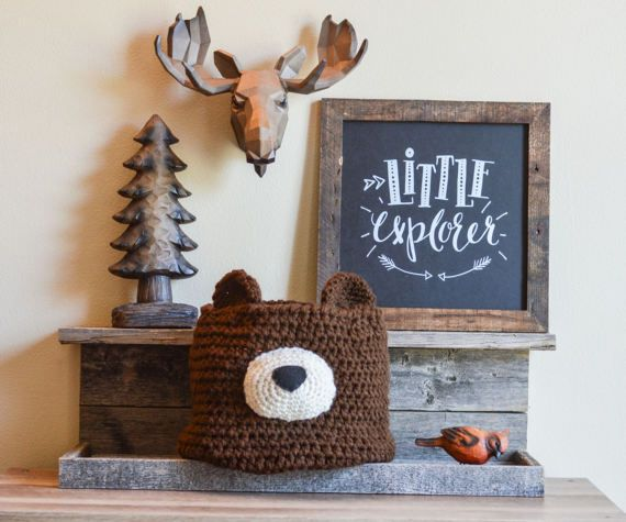 Crochet bear basket bear Nursery decor woodland by ClaraLoo