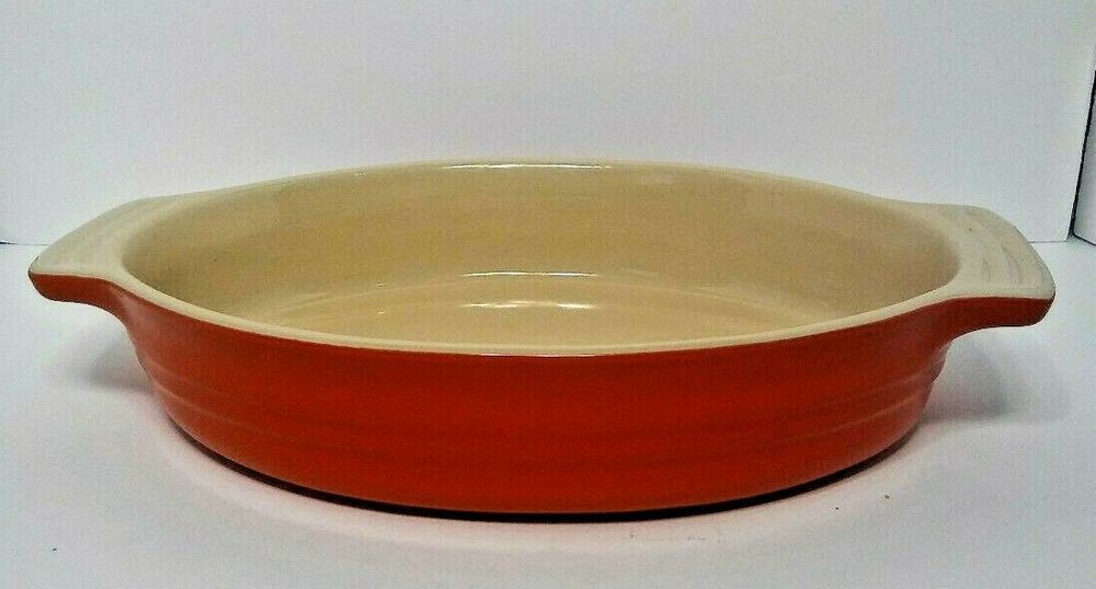 Le Creuset 11 31 Red Oval Baking Dish Stone Ware Casserole Cookware 9 X 7 Lecreuset Baked Dishes Dishes Creuset Le creuset oval baking dish
