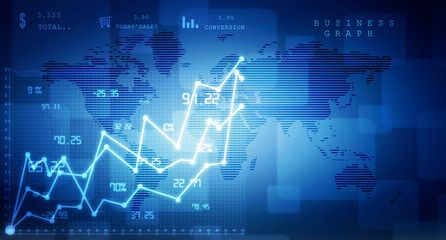 2d rendering Stock market online business concept business Graph
