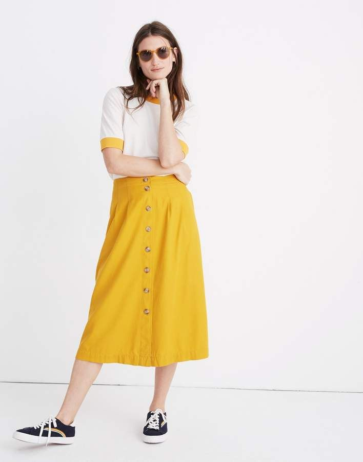 1a6992760 Madewell Patio Button-Front Midi Skirt in 2019 | My style | Midi ...