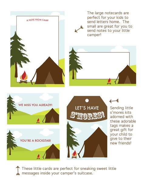 Camp themed printables were created by Perideau Designs for an