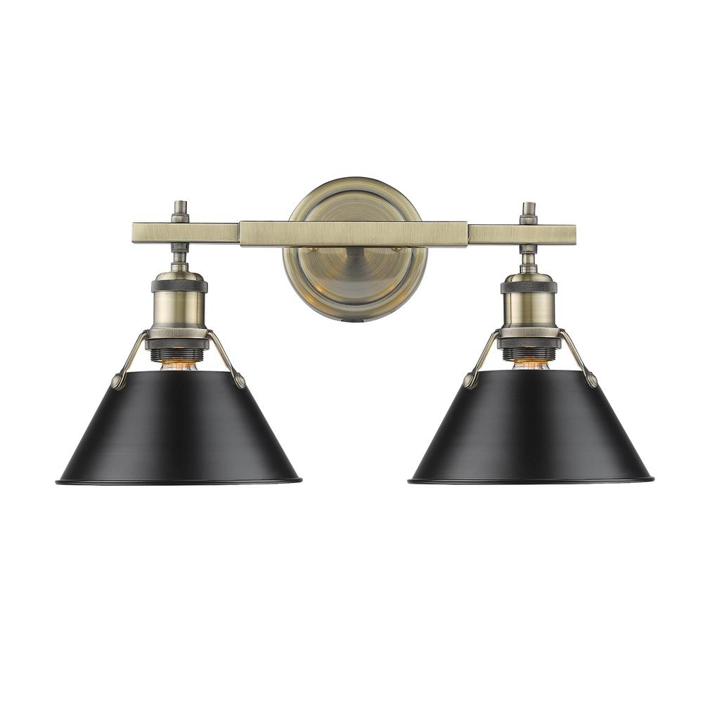 Golden Lighting Orwell Ab 2 Light Aged Brass Bath Light With Black Shade 3306 Ba2 Ab Blk The Home Depot In 2021 Industrial Vanity Light Golden Lighting Bath Vanity Lighting