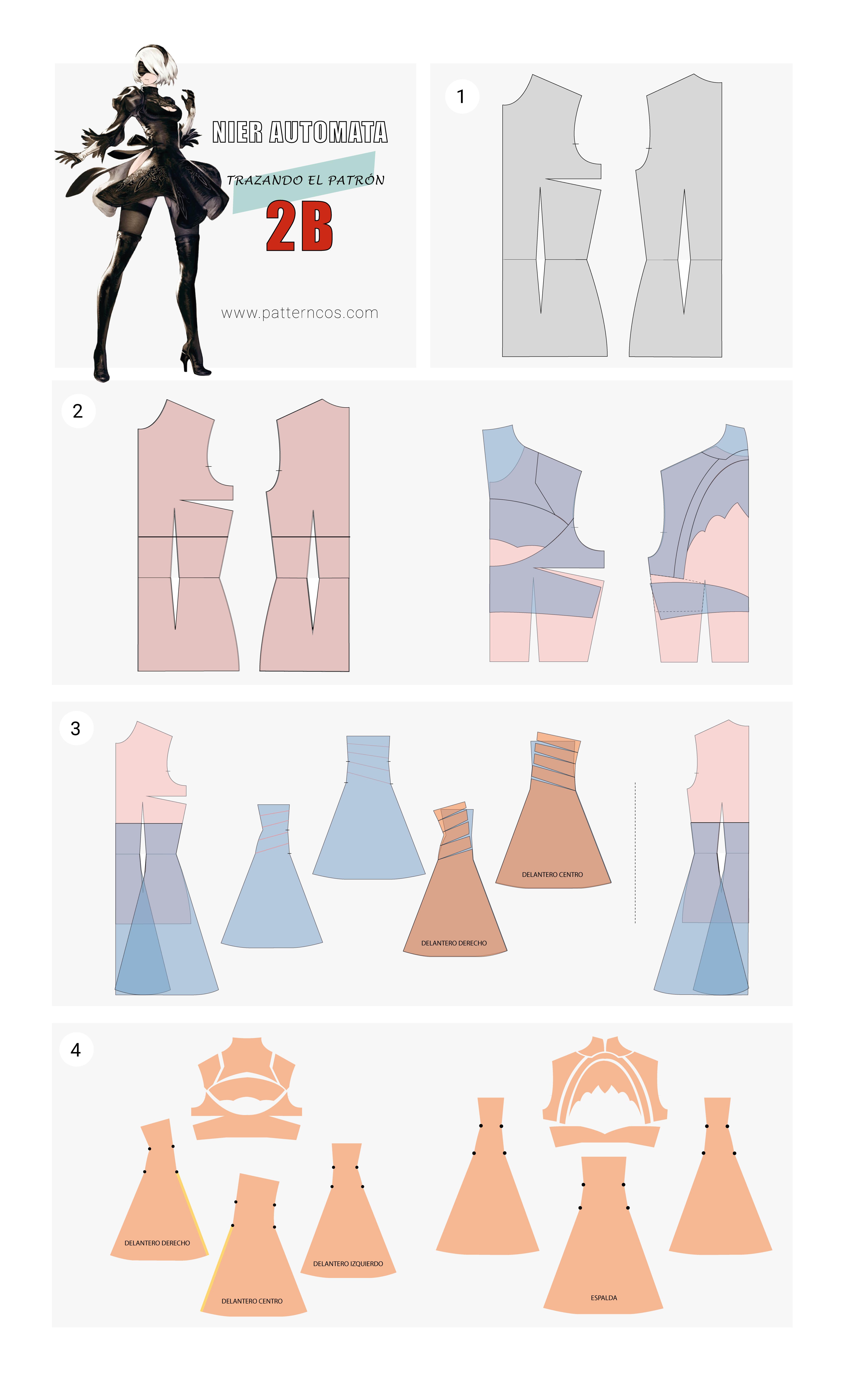 Cómo hacer el vestido de 2B | Cosplay Tutorial | Nier Automata ...